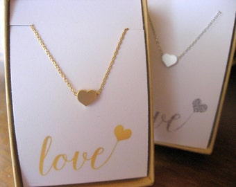 Tiny Heart Necklace, Heart Choker available in Gold or Silver, Bridesmaid Necklace, Valentines Gift, Heart Layering Necklace, Anniversary