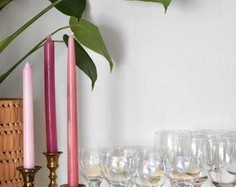 set of 6 iridescent stemware champagne glasses / barware