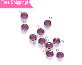 Set of 10 Purple Swarovski 6mm Amythyst Crystal Charms for Jewelry and Crafts