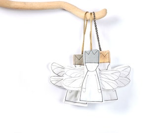 Crib hanging toys , Hanging angels , nursery wallhanging , holiday door decor , set of 3 , Christmas ornament , grief gift , Lucky Amulet