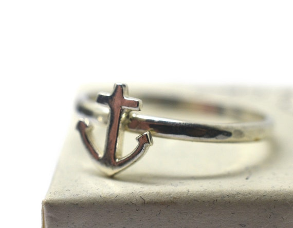 silver anchor ring handforged sterling band custom engraved
