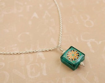 Catalina Tile Necklace on Sterling Silver, Spanish, Mexican, Catalina Island Tile, Inspired, Aqua Blue Glass Necklace