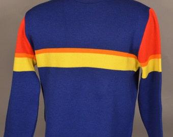 VINTAGE Lido Of California Ski Sweater Rainbow Striped Mens Large