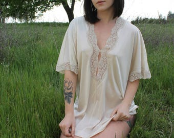 CORA Vintage 1960's Tunic Nightie Lingerie Peach Lace Nightie Vintage Top Shirt Layering Size Small