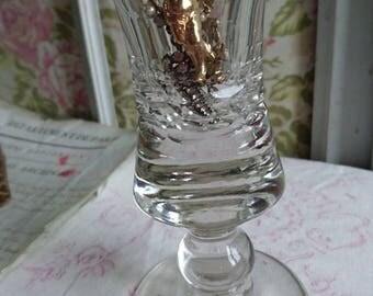 Superb antique French Verre du Patron glass c1900 TROMPE L OEIL GLASS Bistro Cafe bar