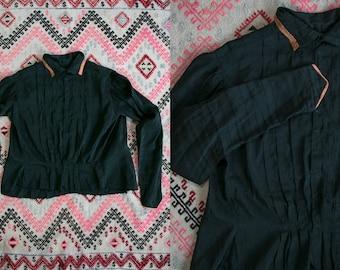 Vintage Antique 1900's 1910's Silk Hand Sewn Hand Made Black Blouse Goth Victorian Women's Small Medium