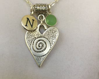 Silver Heart, Initial N and Birthstone of Choice Necklace