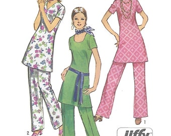 Simplicity 9363 Misses 70s Jiffy Tunic and Pants with Three Necklines Sewing Pattern Size 14 Bust 36
