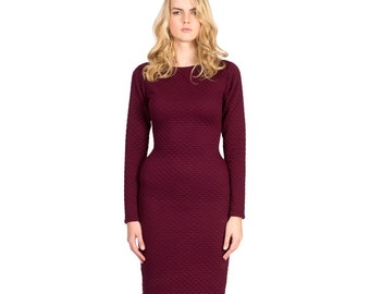 FALL SALE Soft Quilted Plum Stretch Fitted Cotton Dress with Long Sleeves