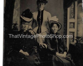 Tintype Photograph Three ladies Lots of buttons and  Hats