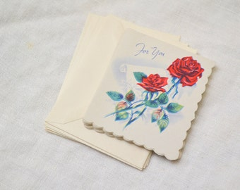 1940s NOS Rose Gift Card with Envelope