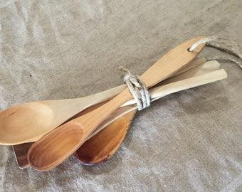 Five VINTAGE primitive wooden spoons. Rustic-vintage kitchen / vintage home