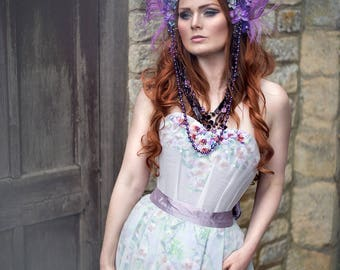 Purple and Blue 'Titania' Feather Crystal Couture Headdress