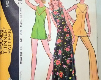 Vintage 1972 McCall's 3193 Misses' Dress or Tunic and Pants Sewing Pattern Size 16
