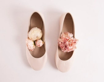 Almond Blush Bridal Ballet Flats | Wedding Flat Shoes | Dance Shoes | Almond Blossom | Made to Order