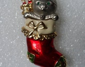 Cat In A Christmas Stocking! Signed Danecraft! Gold Plated Stocking! Red White & Green Enamel Green Swarovski Crystal Eyes Ships Free! Sale!