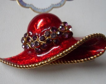 Red Hat Pin! Red & Purple Hat Brooch! Gold Plated Hat With Red Enamel Purple Swarovski Crystal Flowers Make The Hat Band! Ships Free Sale!