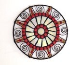 Round mosaic wall decor- red and creamy pearl