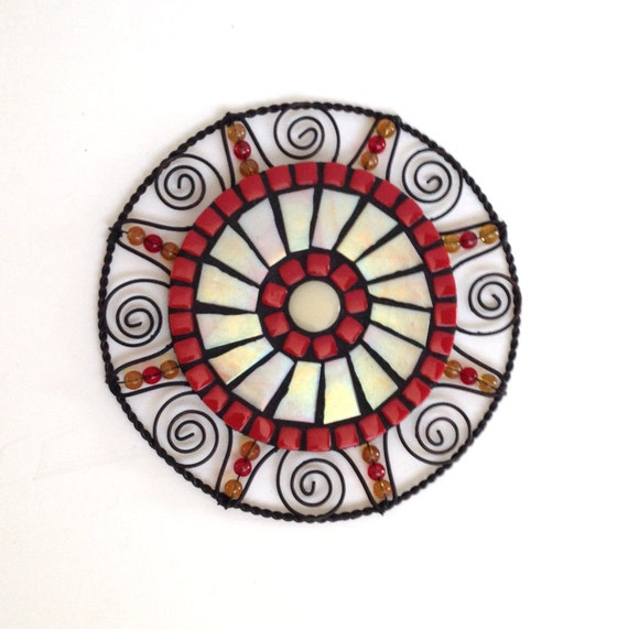 Red Mosaic Wall Decor : Round mosaic wall decor red and creamy pearl