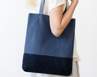 Blue & Suede tote Leather Tote bag