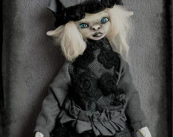 Myla Witch - Ooak articulated gothic goth ghost art doll (WORLDWIDE SHIPPING INCLUDED)