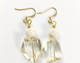 Crystal essential oil diffuser earrings
