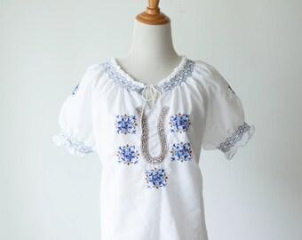 Vintage Ukrainian Embroidered Smocked Peasant Blouse // Traditional vintage blouse // navy blue gold metallic // vintage womens clothing