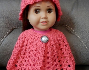 Crochet Doll Cape and Slouchy Hat, Clothes for 18 inch Dolls,  American Girl Doll