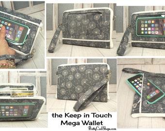 Cell Phone Wristlet Wallet • Smartphone Wristlet • Dandelion Grey • iPhone 7 Plus Wristlet • Keep in Touch MEGA Wallet  • 2b