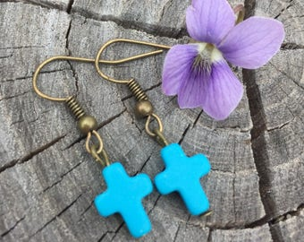 Turquoise Magnesite Cross Gemstones . Earrings . Crosses Collection