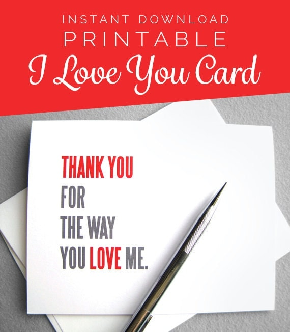 Printable Anniversary Card. Love Card. Valentine Card. Instant Download. Digital Download. I Love You. Valentines Day Card. Romantic Card.