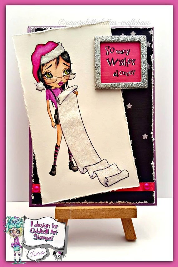 INSTANT DOWNLOAD Female Christmas Elf with Long List - Naughty List No.353 by Lizzy Love