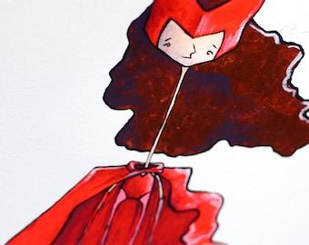 Scarlet Witch – Original Acrylic Illustration Painting of Female Marvel Superhero, Scarlet Witch