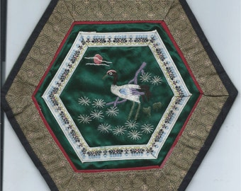 6 Sided Vintage Silk Chinese Embroidery with Dark Green Ground with a Crane  Standing in the Moon Light