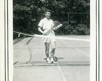 "Vintage Photo ""Young Tennis Pro"" Playing Sports Snapshot Antique Photo Old Black & White Photograph Found Paper Ephemera Vernacular - 160"