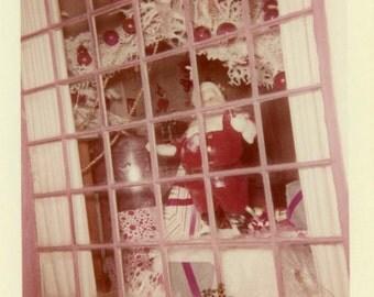 "Vintage Color Photo ""He's Always Watching"" Santa Christmas Decor Snapshot Old Antique Photograph Found Photo Paper Ephemera Vernacular - 189"