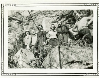 "Vintage Photo ""Hiking to Find Magical Creeks"" Snapshot Antique Photo Old Black & White Photograph Found Paper Ephemera Vernacular - 142"