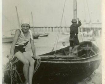 "Vintage Photo ""Jenny and the European Harbor"" Snapshot Antique Photo Old Black & White Photograph Found Paper Ephemera Vernacular - 73"