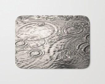 Rain Drops Photo Bath Mat, Bathroom Decor, Memory Foam Cushion, Water Puddle