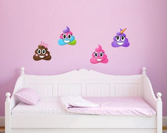 4 Large Poop Emoji Wall Decal Peel and Stick Repositionable