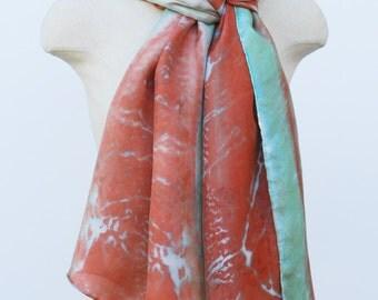 burnt orange and jade silk scarf, oversized hand printed botanical scarves,