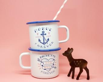 """Set of two enamel mugs """"Morue Forever"""" and """"Bichette Forever"""""""
