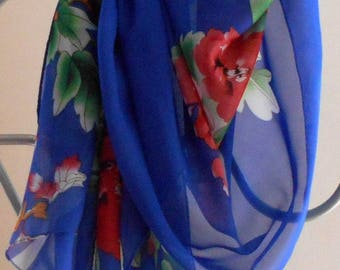 Fashion Scarf,Blue Scarf, Floral Scarf,Peonies,Gifts For Her,Womens Scarves, BOHO Scarf,, Fashion Accessory, Sarong,Scarf, Gift For Her