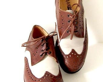 Vintage Giraudon shoes, Giraudon Oxfords, brown leather shoes, womans oxford shoes, womans brown shoes, brown cream shoes, two tone oxfords