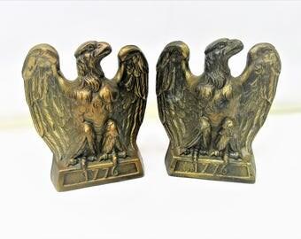 Vintage Eagle Bookends   American Eagle Book Ends   Brass Bookends   Patriotic Decor