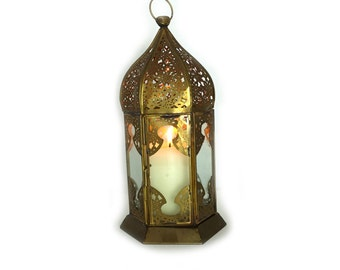 Vintage Moroccan brass and glass lantern, Moroccan candle holder, brass light pendant