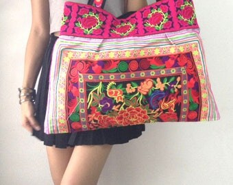 Ethnic Hobo Boho Asian Embroidered Thai Tote Shoulder Hmong Messenger HandBag