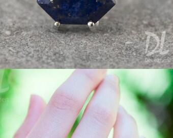 Blue Lapis Lazuli Ring Silver - September Birthstone Ring - Stack Ring - Stackable Birthstone Ring - Silver Ring - Marquise Prong Set Ring