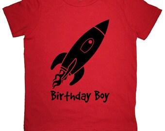 Rocket Birthday Boy Shirt - Kids Shirt - Outer Space Solar System Space Ship Boys Bday shirt  - Sizes 2T, 4T, 6, 8, 10, 12 - Gift Friendly
