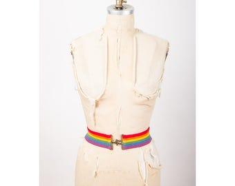 Vintage rainbow stripe elastic belt / 1970s Wide cincher belt / Pride weekend S M
